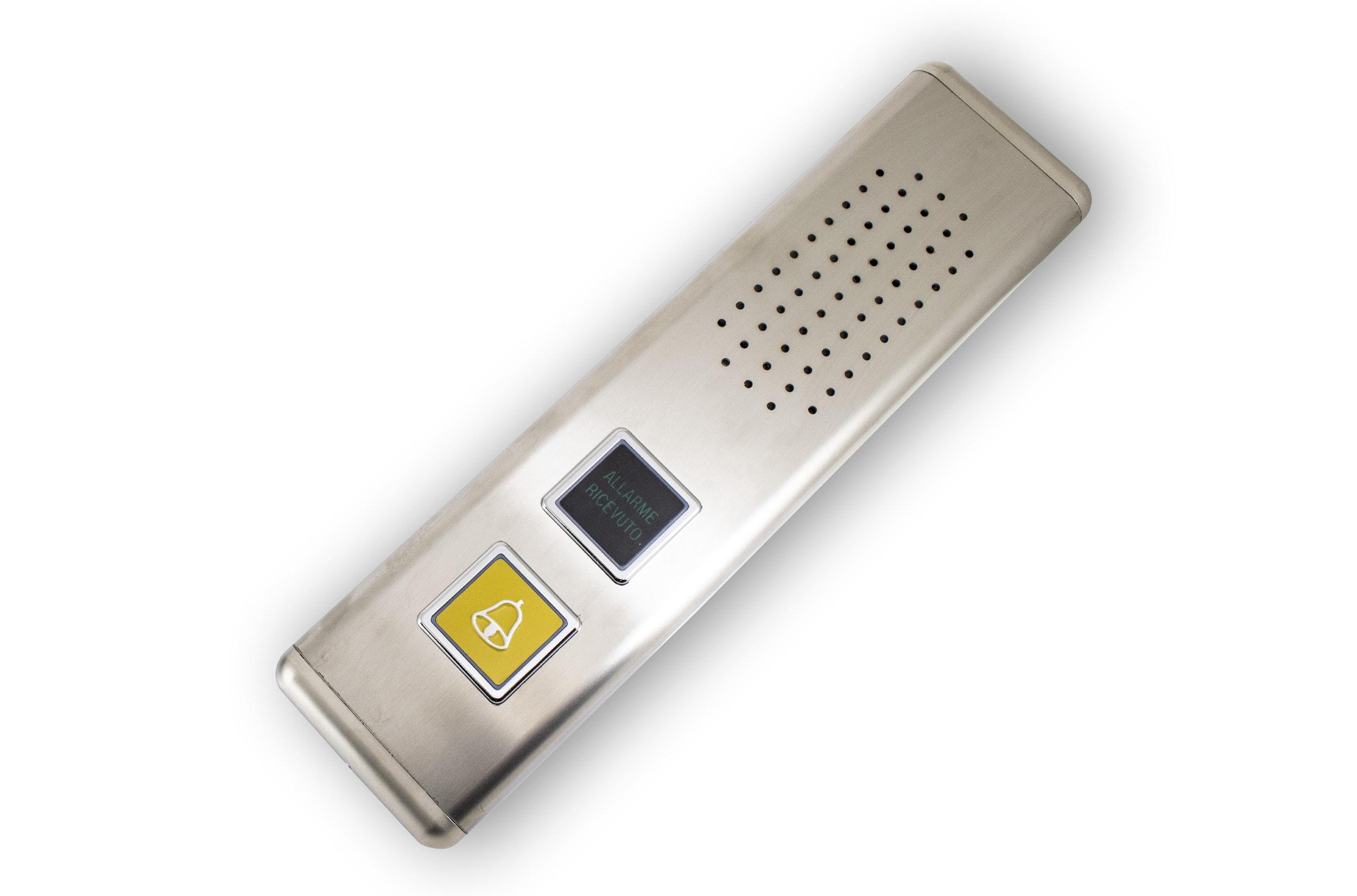 Pulsantiera di cabina con vivavoce porter, pulsante campanella e segnale di allarme ricevuto
